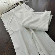 《SIZE改善 品質向上》Tシャツ 快適である ワイドパンツ パンツ 気質 ニット スリム 2点セット 夏 sweet系
