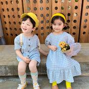 ドレス ワンビス 半袖ショーツチェック韓国子供服 男の子女の子2020新作