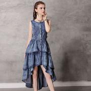 おしゃれデニム不規則フリーツワンピースレディース夏上品着痩せナチュラル ドレス
