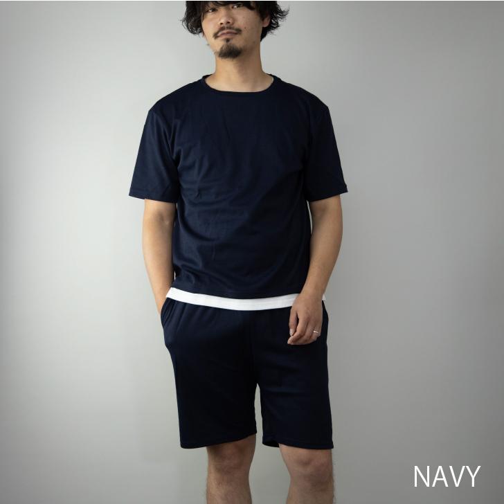 2020新作 ルームウェア メンズ 上下セット スムース セットアップ 半袖Tシャツ ショートパンツ イージー
