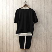 2020新作 ルームウェア メンズ 上下セット セットアップ Tシャツ サイドライン ショートパンツ ハーフ