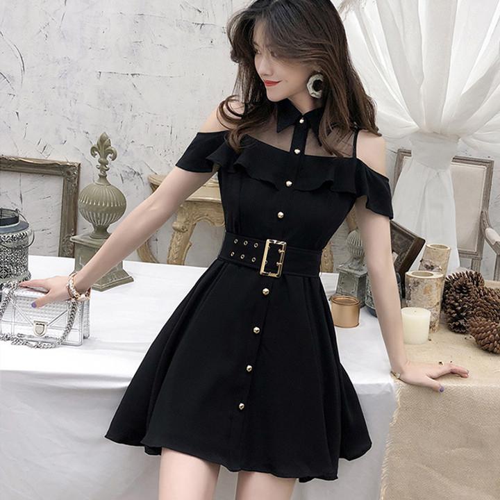 ミニワンピース 襟付き ドレス 黒 フレアワンピース