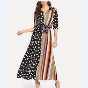 韓国ファッション新品 おしゃれドット切替ワンピース レディース 夏 3色