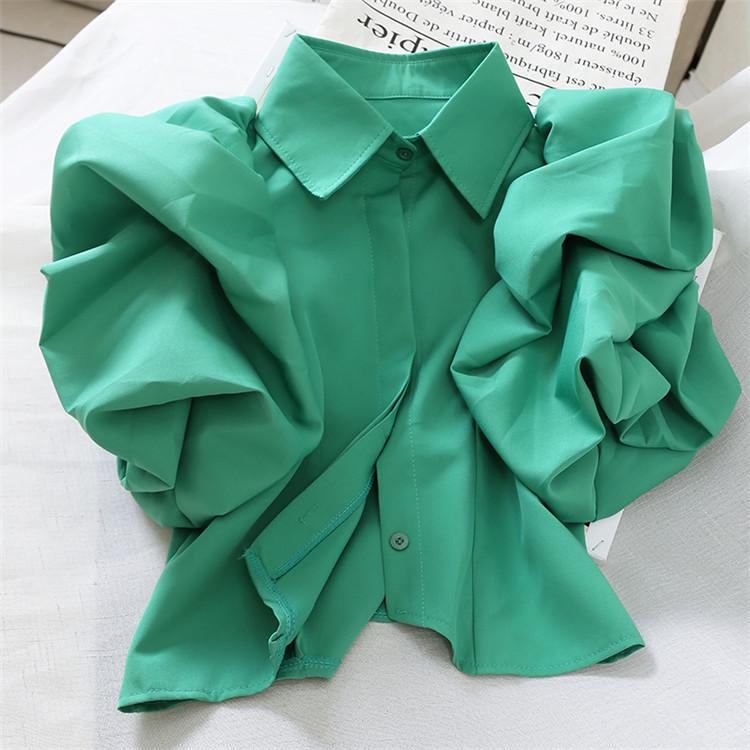 店長推薦  新着 気質 パフスリーブ トップス ラペル 洋風 短いスタイル シャツ 学生 スリム 上品映え