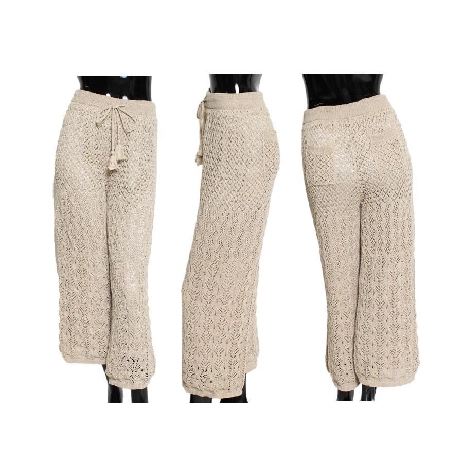 編み パンツ 透かし ニット