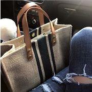 新作 エコバッグ ハンドバッグ ストライプ柄 大容量 通勤 韓国ファッション ショッピング