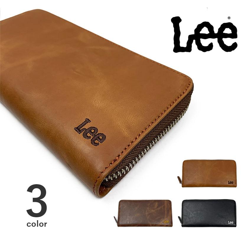 全3色 Lee リーラウンド 刺繍ロゴ長財布 ロングウォレット 本革 リサイクルレザー
