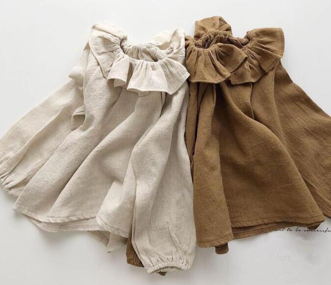 子供服 トップス キッズ 子ども 秋 綿麻 襟付き シンプル かわいい トレンド おしゃれ