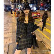 【大HIT記念 お見逃しなく!】韓国ファッション 気質 チェック柄 プリーツスカート sweet系 2点セット