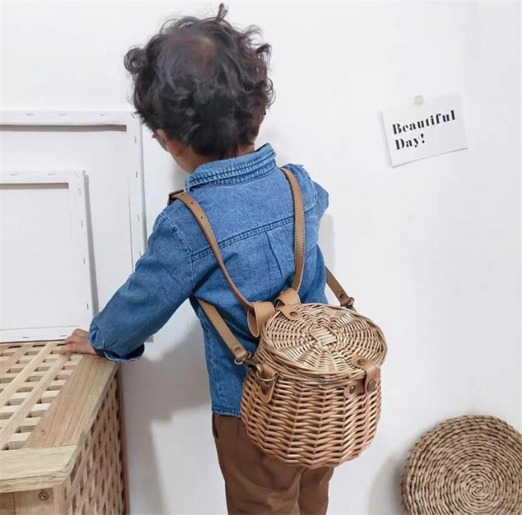限定数量セール!! 韓国ファッション  籐 バックバスケット ストロー シンプル 子供 斜め 竹かご 自転車かご