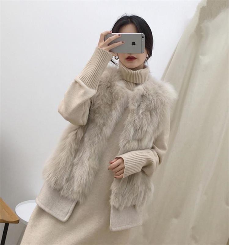 合わせやすい服で 韓国ファッション ファー タンクトップ 縫付 ギャザリング ラウンドネック