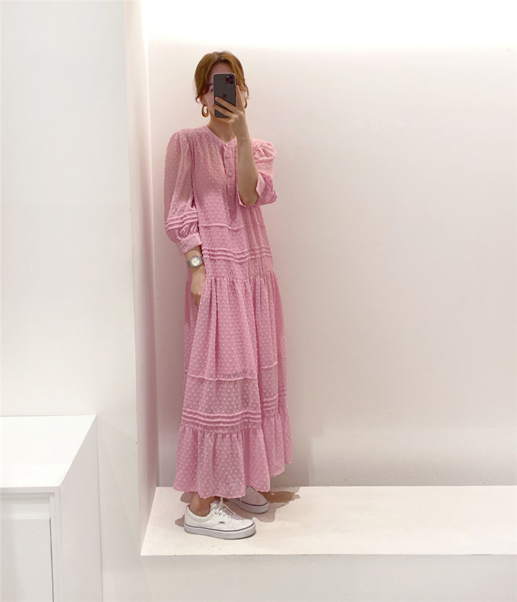 雑誌やSNSで話題 韓国ファッションロングスカート  立体感 半袖 ワンビース 怠惰な風 サスペンダー付
