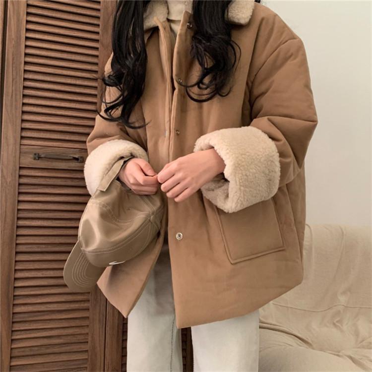 韓国語版 ゆったりする ムートンコート コート 厚みをつける 単体ボタン スタンドカラー 通勤する