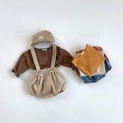 全3色 子供2点セット!サロペットパンツ+長袖カットソー  ボトムス トップス ベビー キッズ