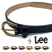 全6色 Lee リー リアルレザー パンチングデザイン タイト ベルト 細身 本革 牛革