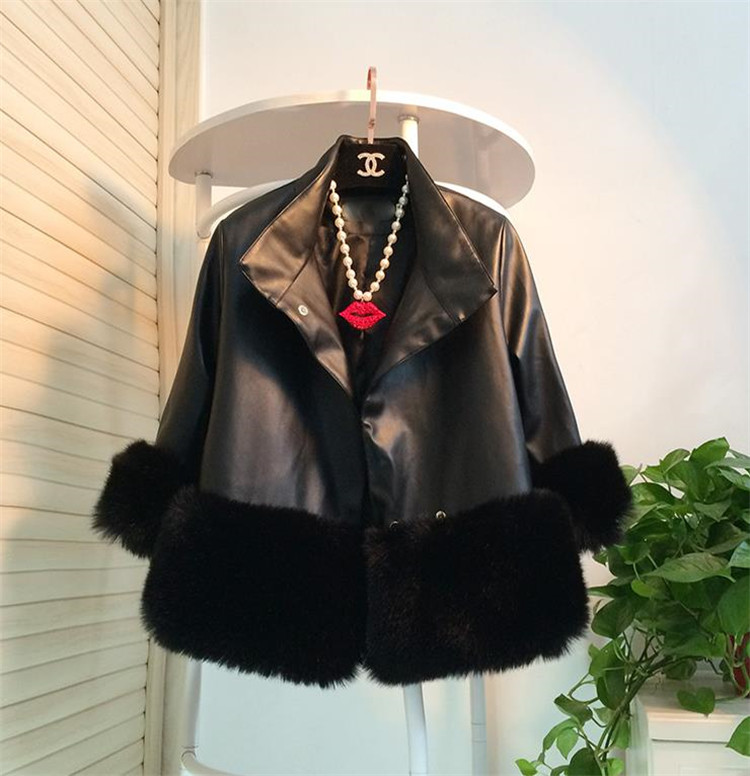 短いスタイル 暖かい ゆったりする 縫付 ファッション 気質 スプライシング コート 単列2ボタン 七分袖