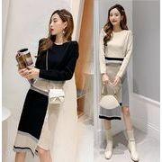 韓国ファッションオシャレ ニット セットアップ 2点セット 秋2色
