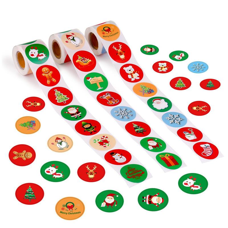 梱包資材 クリスマス シール 円形ラベルシール 動物 500個シール 8種類 3タイプ ラベルロール