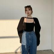 レジャー ファッション セット 女 秋 年 新しいデザイン ニットカーディガン キャミソ