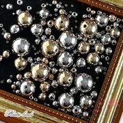 メッキ加工プラスチックビーズ ゴールド・シルバー 9サイズ beads629