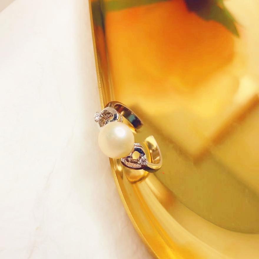 即納 上品 リング 指輪 プラチナメッキ 真珠 インスタ  シンプル