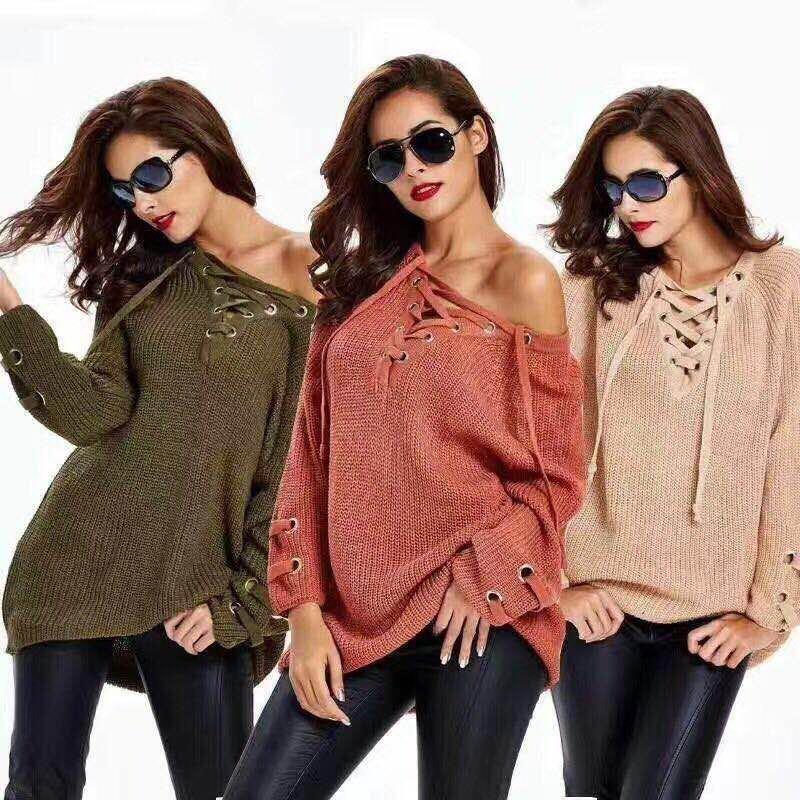 6色選択可★クロス紐ニットセーター 無地Vネックニットセーター