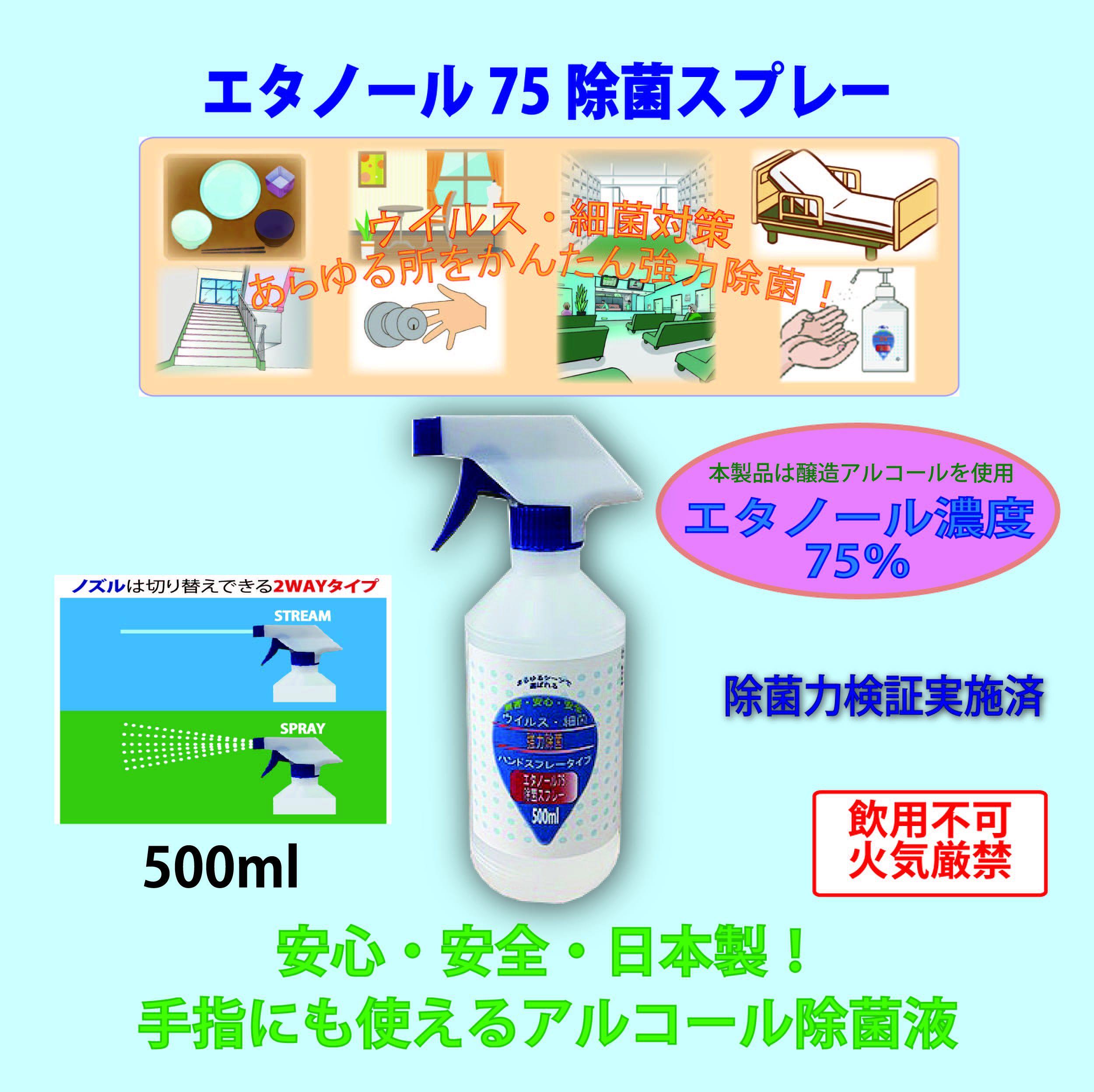 エタノール75除菌スプレー(G) 500ml  2WAYスプレータイプ