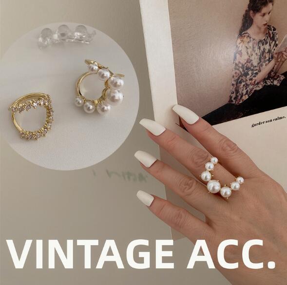 アクセサリー 指輪 リング パール ストーン ビンテージ レディースファッション
