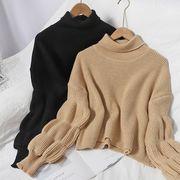 韓国ファッション新品 おしゃれハイネックニットトップス レディース 秋冬3色