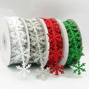 Christmas限定 雪花柄 ラッピング用 リボン テープ プレゼント包装用 クリスマス用品 オーナメント