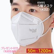 2月3日入荷予定 KN95 マスク 高性能 5層構造 100枚 (個包装 25枚×4箱)調整用フック付き レギュラー 使捨