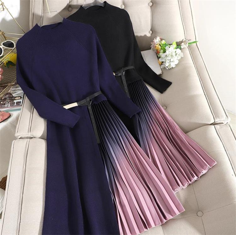 大販促 優れた品質 上品 ドレス 激安セール 縫付 グラディエントカラー プリーツ セータースカート