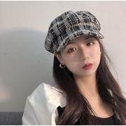 秋冬 レディース帽子 韓国風 アート レトロ  格子縞の帽子  イングランド 画家の帽子