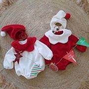 【BABY】 サンタクロースに大変身 ベビーロンパース帽子セット 秋冬服   全2色