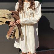 ワンピース シャツ ブラウス クルーネック 長袖 パフスリーブ 韓国ファッション レディース