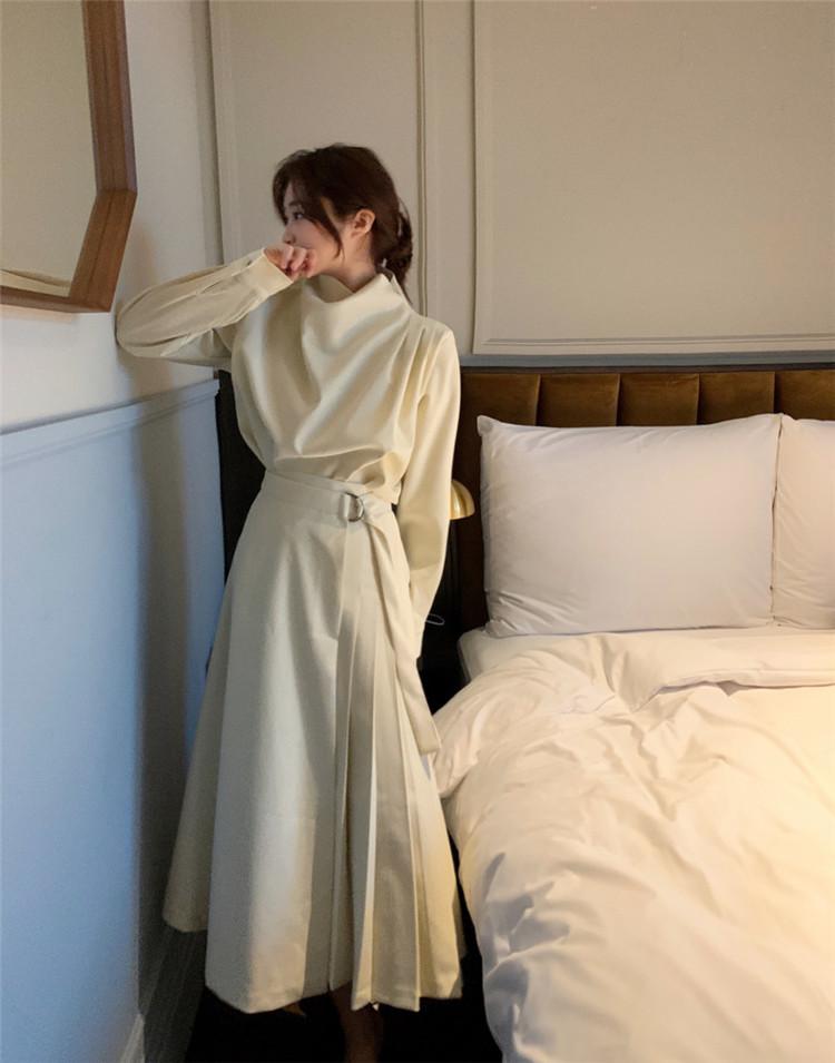 トップス スカート ハイウエスト セット デザインセンス スリム 上品映え 気質 高品質 ギャザリング