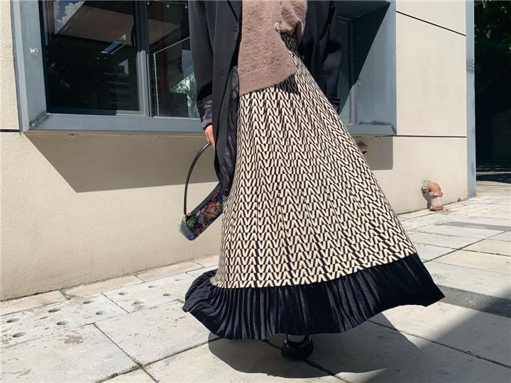 大きい裾 スリム ハイウエスト エレガント ゆったりする ニット ロングスカート スカート 百掛け