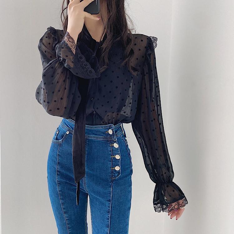 通勤する 2021 春 新品 ドット 縫付 ベルベット ネクタイ シャツ セクシー 女性らしい エレガント 気質