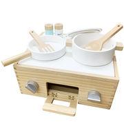 木製ままごと クッキングボックス 遊んでしまえる キッチン コンロ