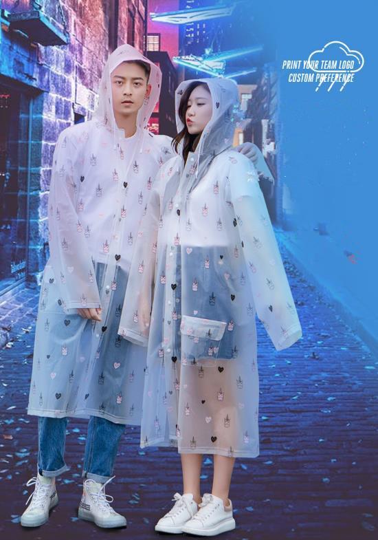 春秋新作 プリントレインコートサイクリング旅行ファッション大人ポケットレインコート 男女兼用 雨具