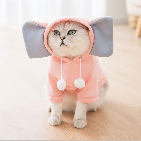 2020秋冬新作猫のセーター大きな耳かわいい象 猫の服 猫二本足の服子犬の犬ペットの服
