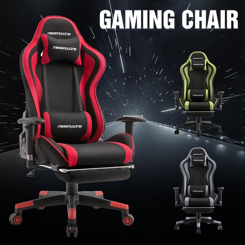 ゲーミングチェア オットマン付き 通気性抜群 gaming chair 耐荷重120kg 腰痛対策 オフィス PP-142
