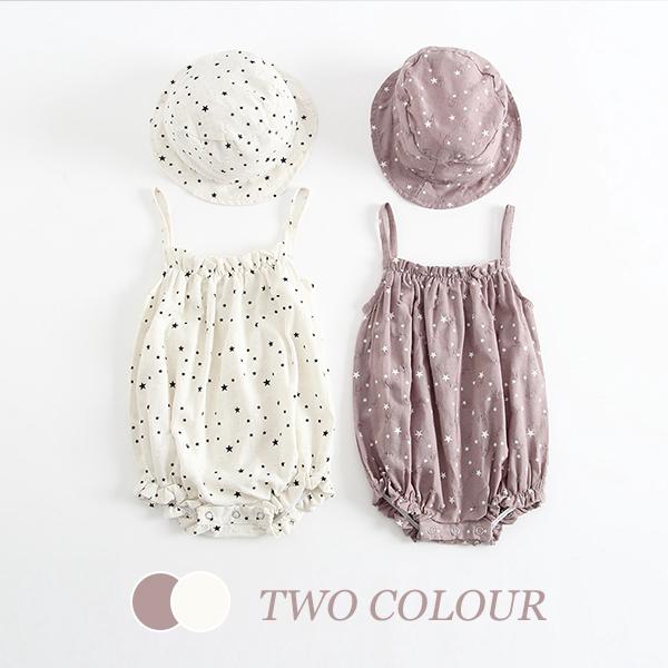 【BABY】2021年韓国春新作 帽子付き星柄キャミソールロンパース 全2色