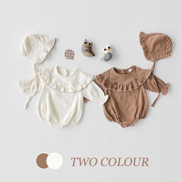 【BABY】2021年韓国春新作 ふわふわ帽子付き無地ロンパース 全2色