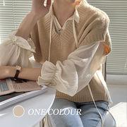【Women】2021年新作 大人気アパレル 透け感ありシフォンシャツ&ベストセット シンプル系 フリル袖