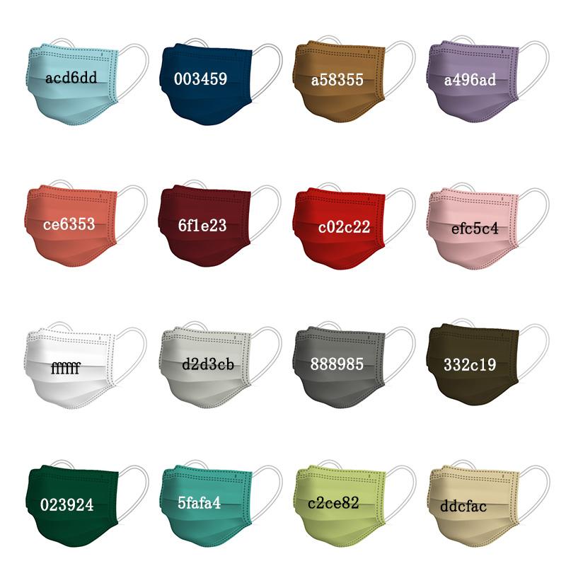 6色即納 カラーマスク 一枚ずつ個別包装 三層構造サージカルマスク 不織布マスク