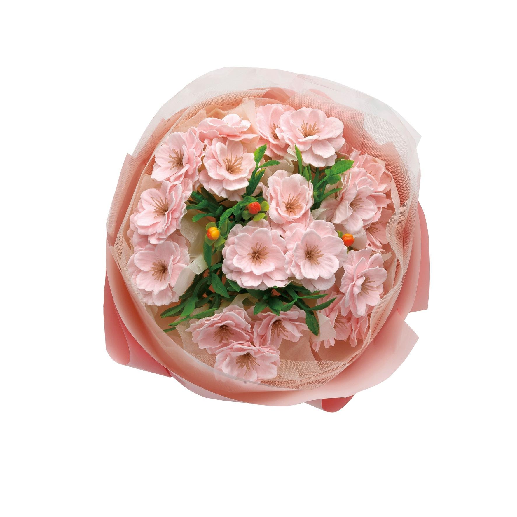 スタンディング桜ブーケ(手提袋付)  ソープフラワー 母の日 入学 移転 引越 祝