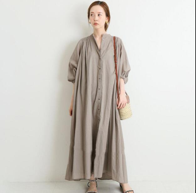 2021春夏新作 ワンピース シャツワンピース 体型カバー ロングシャツ おしゃれ