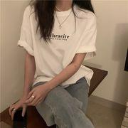 3カラー 半袖Tシャツ/プリント/ラウンドネック/丸首/体型カバー/着痩せ/LOGO/ロゴ/英字/シンプル/カ