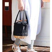 【KAGOBAG】【CARMELINA(カルメリーナ)】柳キャンバス クーラー巾着バッグ (ブラック / ホワイト)